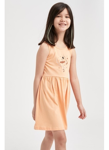 DeFacto Kız Çocuk Unicorn Baskılı Kolsuz Elbise Turkuaz